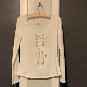 Tops - White long sleeve lace up front